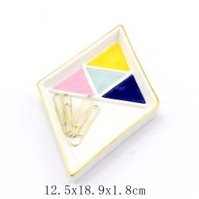 gold trinket tray rhombus shape gold rim