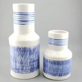 ceramic white and blue vase