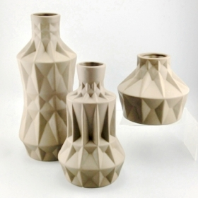 Brown geometric ceramic vase